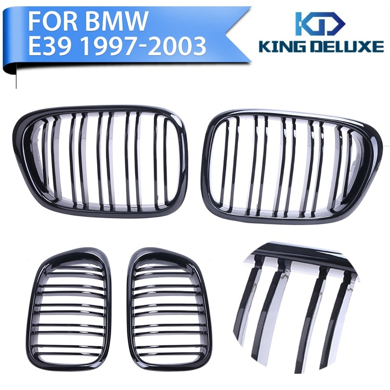 ФОТО 1set New Style Double 2 Line Gloss Black Front Grill Kidney Grille For BMW E39 5Series 525 535 M5 97-03 Car Accessory #P239