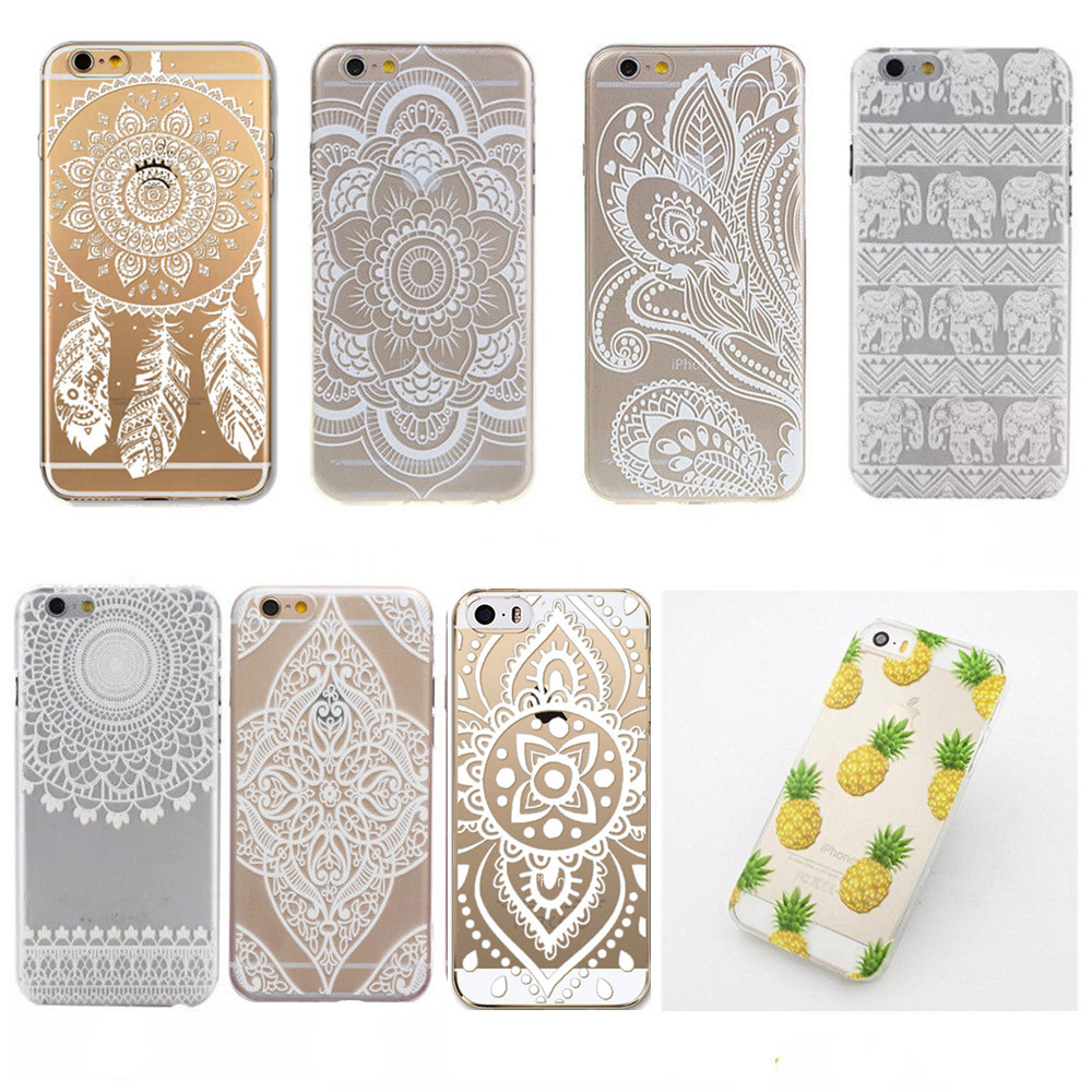 Fashion White Henna Flower Mandala Paisley Floral Pattern Clear