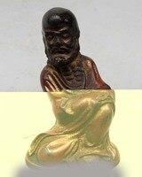 6 Китай Китайский дерева вырезать Архат сиденья Дамо Бодхидхарма Дхарма статуя Будды