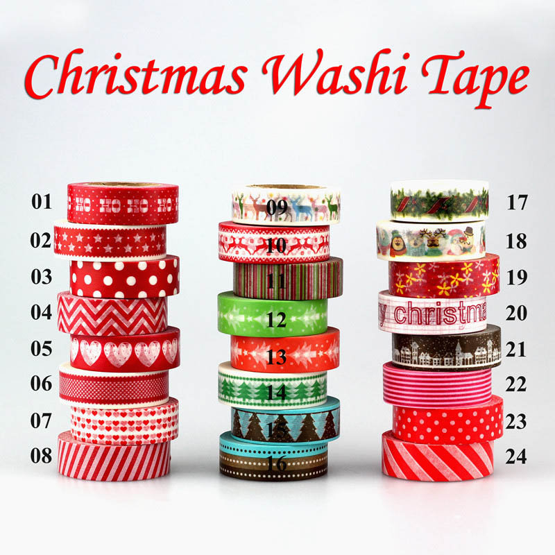 1pc Tape Christmas Set Red Heart Color Scrapbooking DIY Sticker Decorative Adhesive Tape Japanese Washi Tape Masking Tape 10m