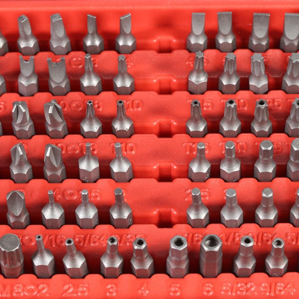100pcs Torx Precision Screwdriver Set Tamper Screws Hex Bit Professional Sturdy Chrome Vanadium Steel Screwdriver Head Set aoneng an 501 chromium vanadium steel screwdriver handle bit set black orange
