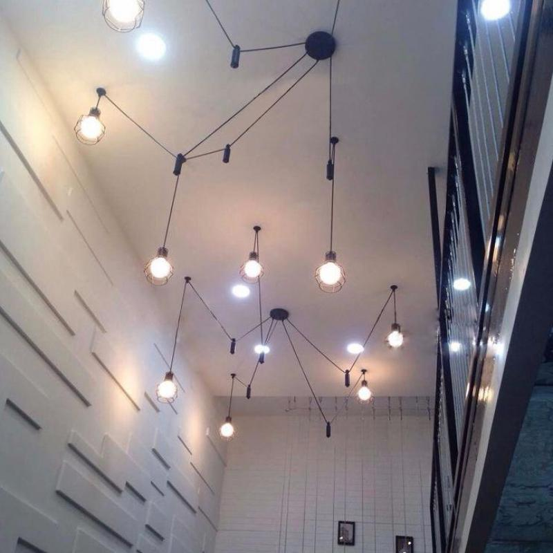 Foyer Industrial Lifting pulley pendant lamps Black long leg spider lights for dining room Cafe light Bar Lustres E Pendentes m75 750kgs pulley 304 stainless steel roller crown block lifting pulley factory direct sales all kinds of driving pulley