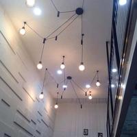 Foyer Industrial Lifting pulley pendant lamps Black long leg spider lights for dining room Cafe light Bar Lustres E Pendentes