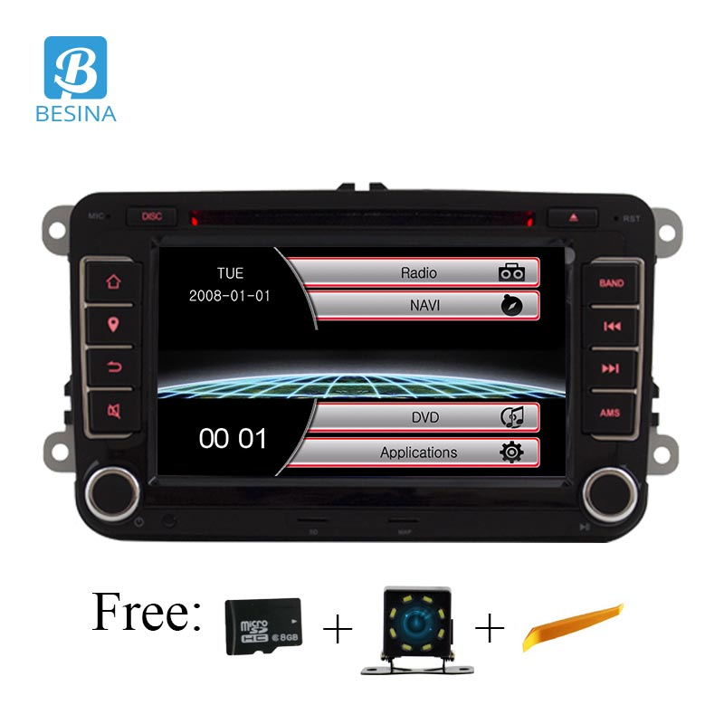 Besina lecteur stéréo 7 pouces 2 din voiture DVD GPS radio pour Volkswagen VW golf 6 touareg T5 passat B6 sharan Touran polo tiguan Seat