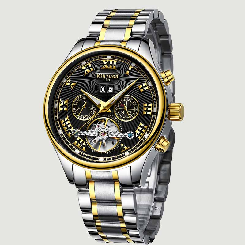 KINYUED Men Rose Gold Watches New Fashion Style Auto Calendar Automatic Mechanical Male Watch Top Brand Busines Horloges Mannen