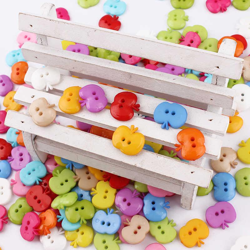 100 sztuk mieszane kolor jabłko przycisk z tworzywa sztucznego dziecko guzik do szycia dekoracji/szycia/Craft/księga gości akcesoria 16*14mm