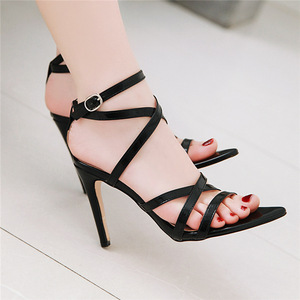 Image 4 - Summer Sandals Women Hot Solid Ankle Strap Gladiator Sandals Ladies High Heels Footwear Yellow Blue Party Wedding Shoes Big Size