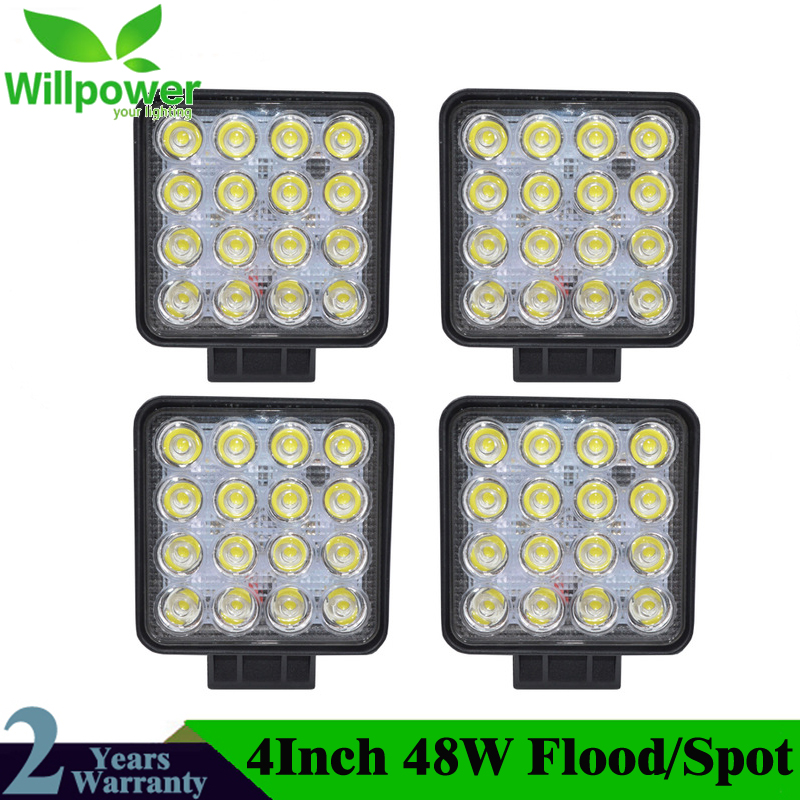 4Pcs 4.2'' 48W LED Work Light For Indicators Motorcycle Driving Offroad Boat Car Tractor Truck 4x4 SUV ATV Flood/Spot 12V-24V car truck tractor spot flood lamp 36w led work light super bright waterproof 12v 24v 2520lm suv atv universal offroad led