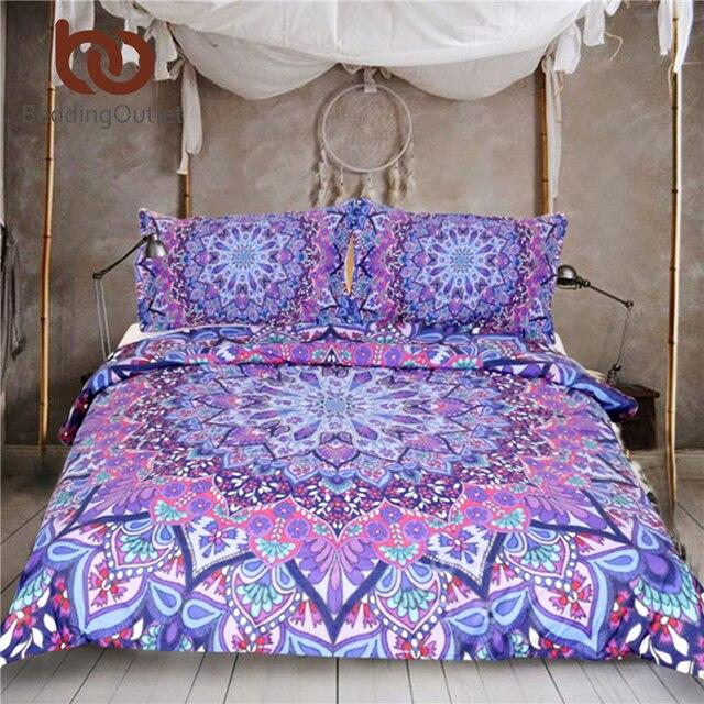 Beddingoutlet фиолетовый светящийся Мандала пододеяльник с наволочками 3 шт. Супер Мягкий Boho постельное белье Мандала роскошный король постельные принадлежности