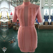 HOT Top Quality 2 Colors Celebrity Short Sleeve Mesh Hollow Out Rayon Bandage Dress Cute Cocktail