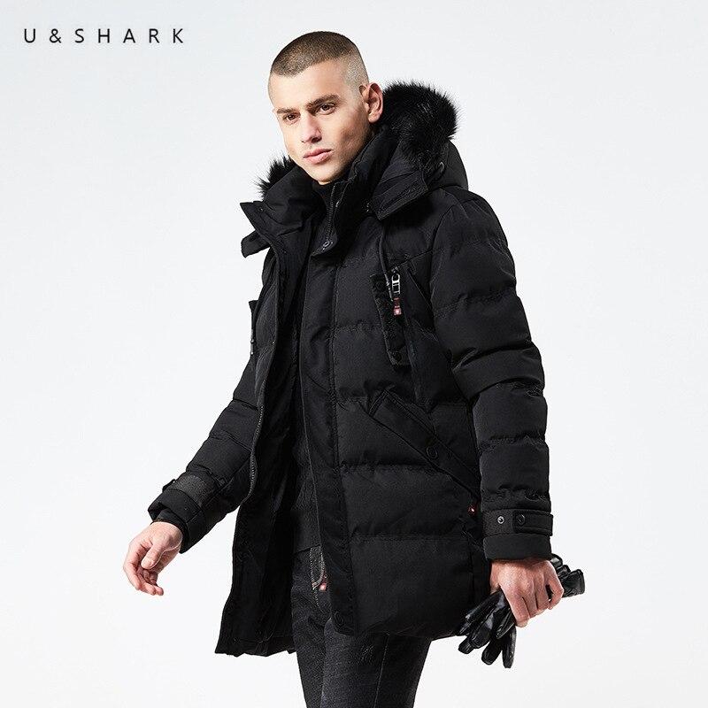 U & SHARK 2018 Hiver Parkas Hommes Vestes À Capuchon Occasionnel Manteaux Hommes Survêtement Haute Qualité Épaississement Chapeau Veste Mâle Marque vêtements