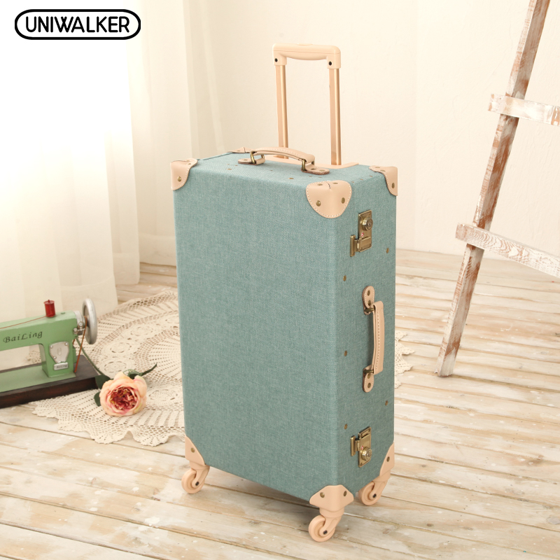 UNIWALKER 20 -26 Vintage Travel Trolley Luggage Suitcase With Combination Lock Rolling Luggage Suitcases With Spinner Wheels 12 20 22 24 26 gray retro trolley suitcase bags 2pcs set vintage travel trolley luggage with spinner wheels with tsa lock