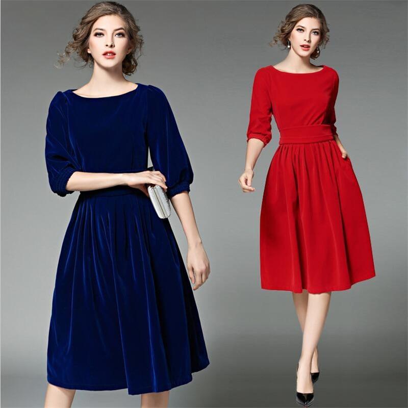 f0a57a31692 2019 New Arrival Autumn Spring Lantern Sleeves Dress Women Slash Neck Slim  Fit Velvet Dresses Ladies