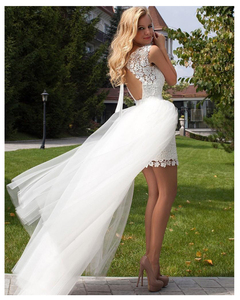 Image 4 - LORIE 2019 New Princess Wedding Dress mini Appliqued Detachable Train Wedding Gown Sleeveless Boho  Free Shipping Bride Dress