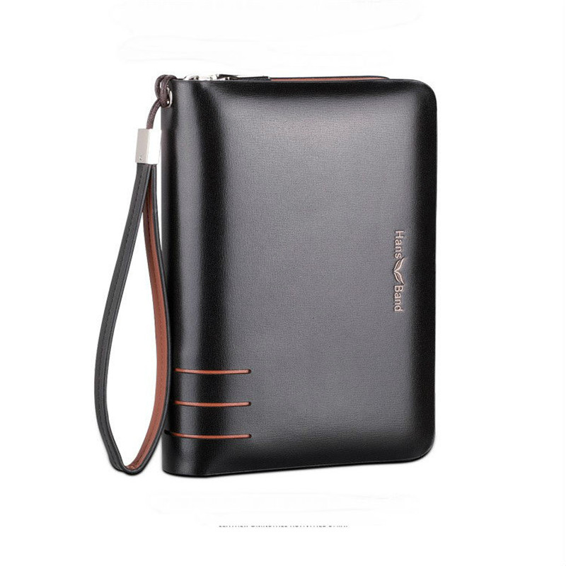 Handbag Men Genuine Leather Wallet Large Capacity Double Zipper Purse Casual Long Business Male Clutch Wallets Men's Clutch Bag luxury genuine leather men wallets large capacity cowhide men clutch phone bag purse zipper vintage long wallet casual hand bags