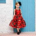 O desgaste do verão meninas novas crianças vestido sem mangas de impressão flor Vestido de Princesa criança