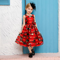 The summer wear new girls children sleeveless dress printing flower child Princess Dress