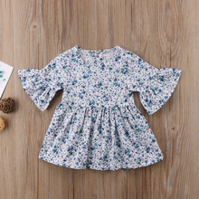 Kids Baby Girl Ruffled Sleeve Dresses Floral Outfit