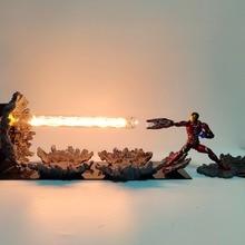 Avengers Endgame Iron Man MK50 Laser Cannon LED Light Action Figures Toy Anime Movie Avangers 4 Figurine Scene