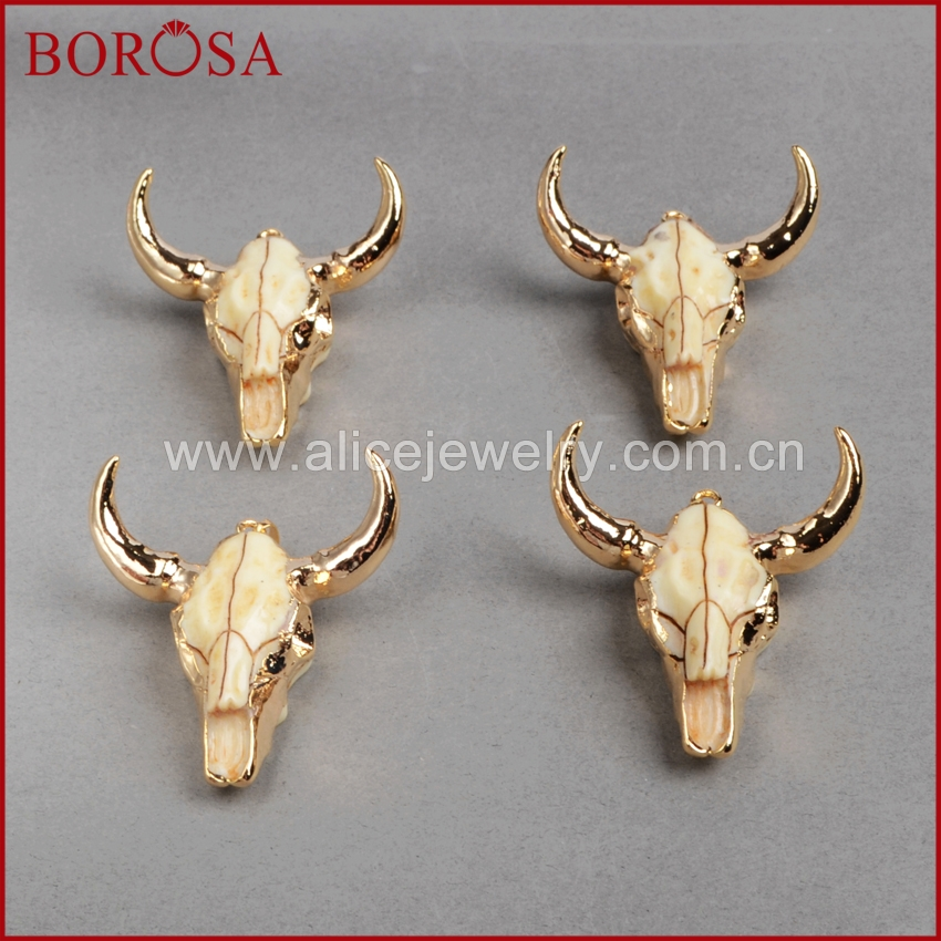 Image 2 - BOROSA buffalo Head bead ,Gold Color Bull Cattle Charm Bead Longhorn Resin Horn Cattle Pendant for Jewelry Accessories G0842-in Pendants from Jewelry & Accessories