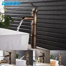 Grifo de latón antiguo para lavabo de baño, grifo mezclador de bambú para agua caliente y fría, grifo de lavabo de un solo orificio, DOODII Vintage