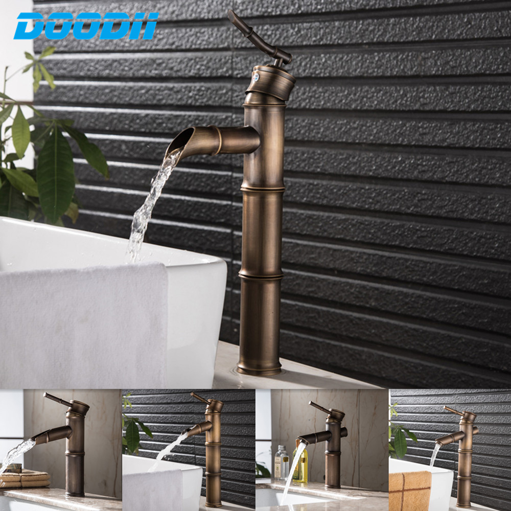 Antique Brass Waterfall Bathroom Sink Faucet Bamboo Water Tap Mixer Hot and Cold Single Hole Basin Faucet Vintage DOODII