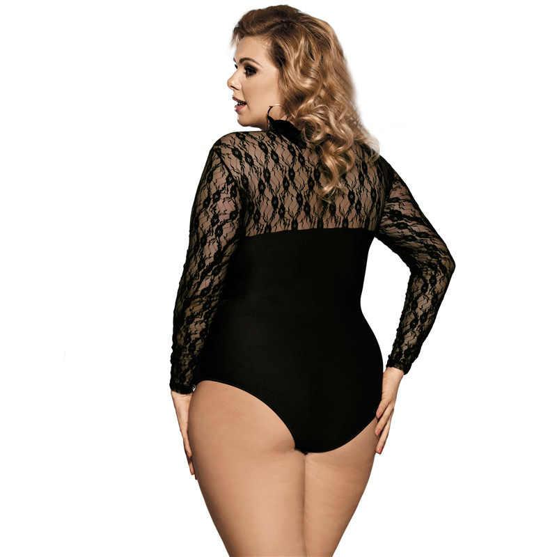 1fab26d902a ... Romper Women Black O Neck Thin Mesh Bodysuit Sexy Black Bodysuits 3XL  5XL Plus Size Long ...