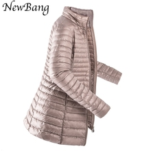 2016 New Ultra Light Duck Down Jacket Women Portable Winter Long Jacket Stand Collar Parkes  Plus 4XL With Carry Bag