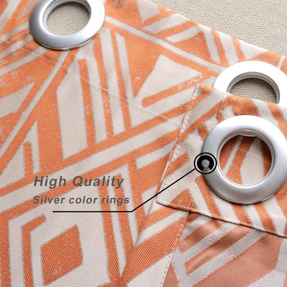 GIGIZAZA cannelle moderne Jacquard noir Out Orange rideaux pour ...