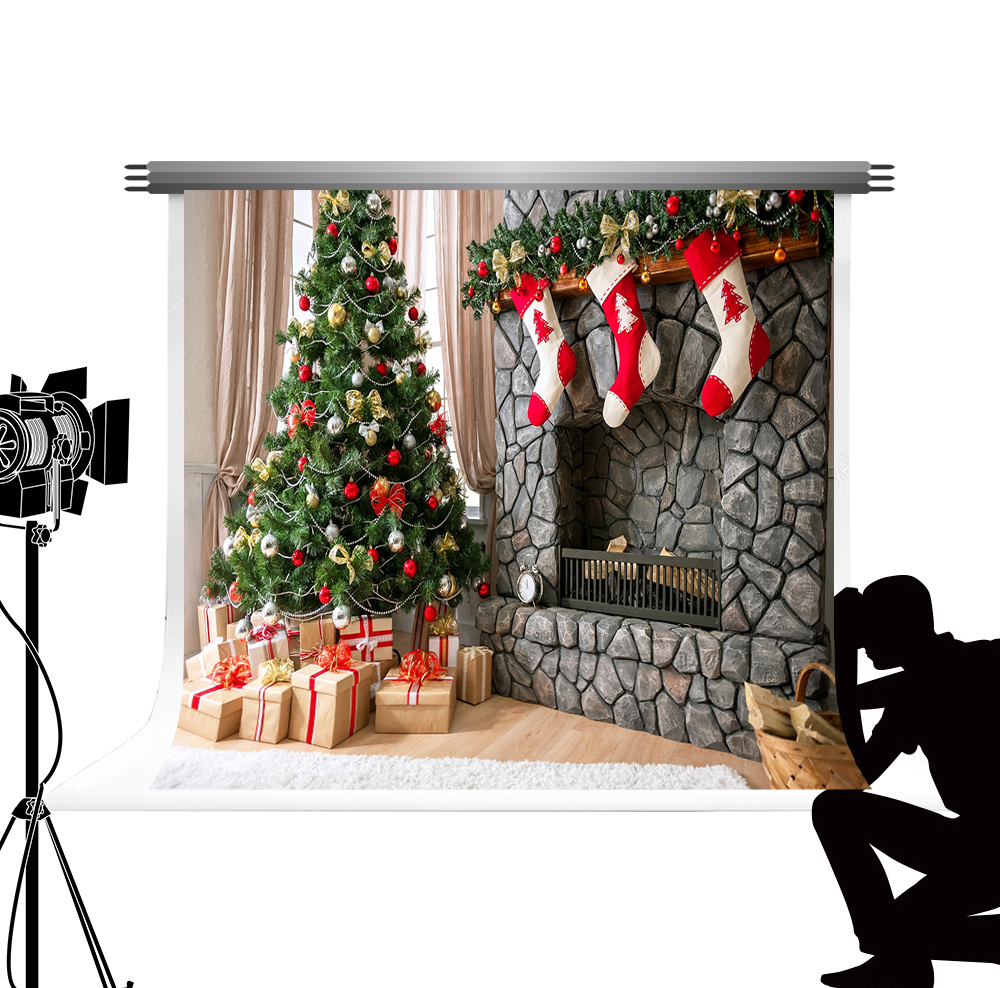 Kate Christmas Tree X-mas Party Photo Backdrop Party Home Backgrounds Fireplaces Decorative For Studio Photocall Navidad 7x5ft christmas background pictures vinyl tree wreath gift window child photocall fairy tale wonderland camera photo studio backdrop