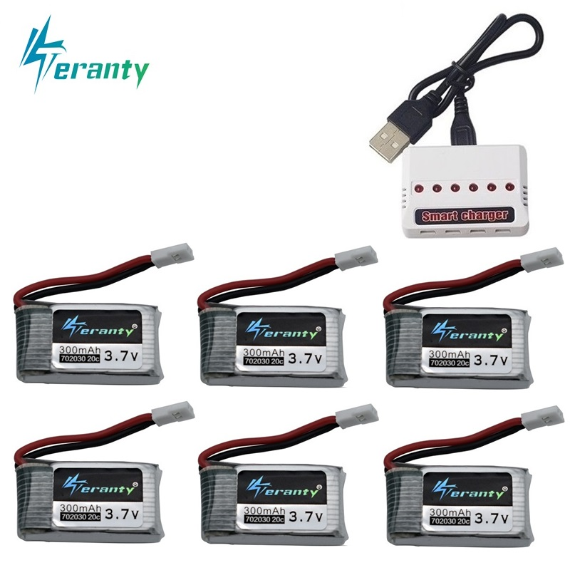 6pcs 3.7V 300mAh Lipo Battery And 6-in-1 Charger For Syma X11 E55 FQ777 FQ17W F180 FY530 U816 U816A U830 X100 H107 S39-1 HD-1306
