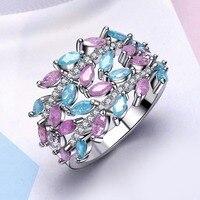New Year 2018 Trendy Pastel Color Jewelry Glitter Effect Zircon Stones Pink Blue Color Luxury Fancy