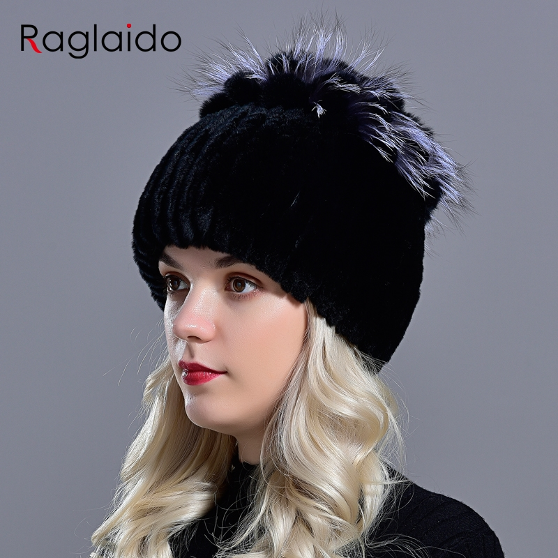 Raglaido Fur Hats for Women Winter Real Rex Rabbit Hat floral kniting female warm snow caps ladies elegant princess hat LQ11299 4