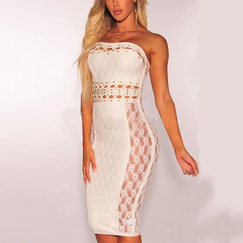 <font><b>New</b></font> Elegant <font><b>Women</b></font> Hollow Out <font><b>Sexy</b></font> Lace <font><b>Dress</b></font> Strapless <font><b>Backless</b></font> Lace Up Bandage Summer <font><b>Dresses</b></font> <font><b>2018</b></font> <font><b>Fashion</b></font> <font><b>White</b></font> Vestidos Festa image
