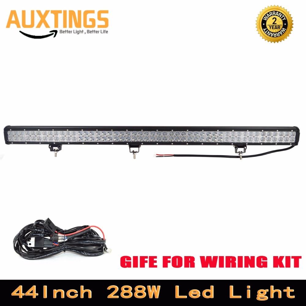 LIVRAISON GRATUITE double rangées 288 w led lumière bar 44'inch COMBO Faisceau haute puissance conduit feux de route ip67 voiture led lumière bar avec Câblage