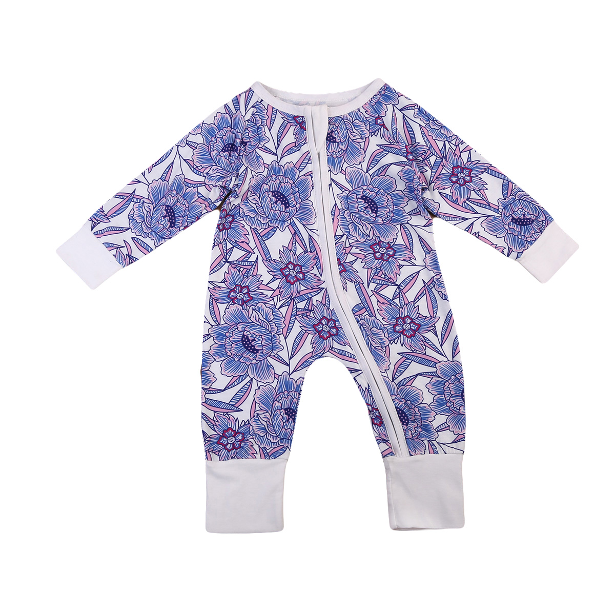 Newborn Infant Baby Boy Girl Romper Jumpsuit Purple Floral Rompers Warm Clothes Outfit