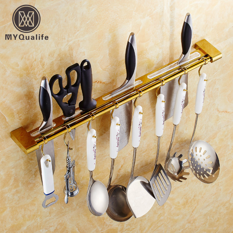 Wall Mounted golden brass kitchen Spoon Rests & Pot Clips Hanger Hooks the ivory white european super suction wall mounted gate unique smoke door