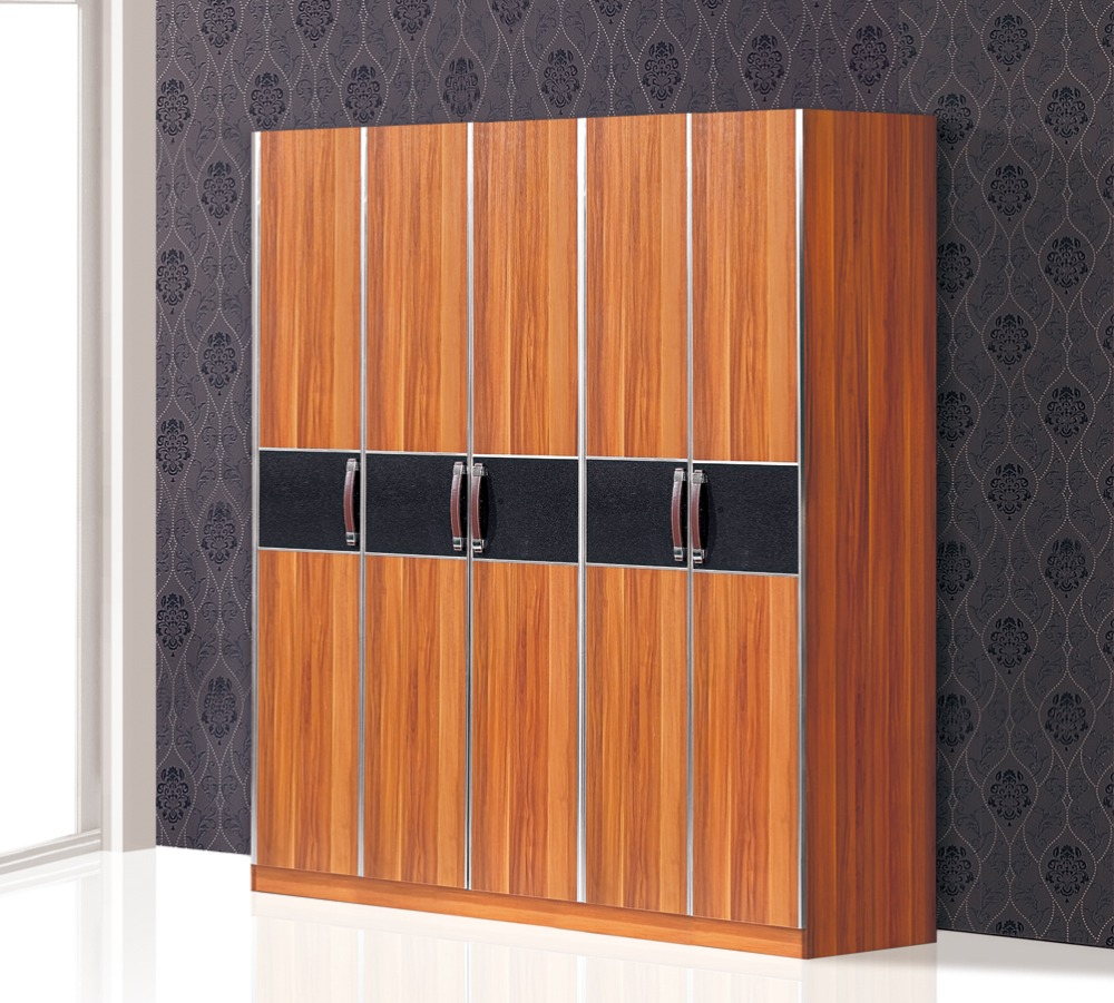 Solid wood wardrobe 2m long five flat sliding door wardrobe closet ...