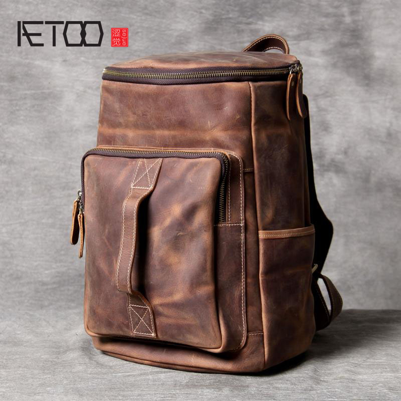 AETOO Simple wild shoulder bag header leather retro leather backpack male original manual large-capacity bucket bag travel bag aetoo backpack female new retro shoulder bag hand large capacity leather bag simple wild
