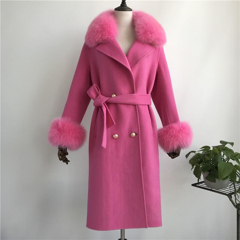 Las mujeres abrigo de cachemir con cuello de piel de zorro chaqueta de lana con cinturón invierno otoño Slim dama 2018 largo abrigo de las mujeres abrigo de lana - 4