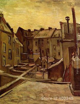 Famous art painting for living room Backyards Of Old Houses In Antwerp In The Snow Vincent Van Gogh High quality Hand painted