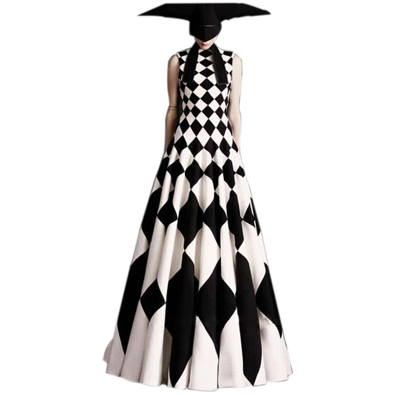 Plus Size Women's Fashion Dresses 2018 Designing Sleeveless Plaid Printed Runway Ball Gown Casual Maxi Long Dress Tank Vestidos