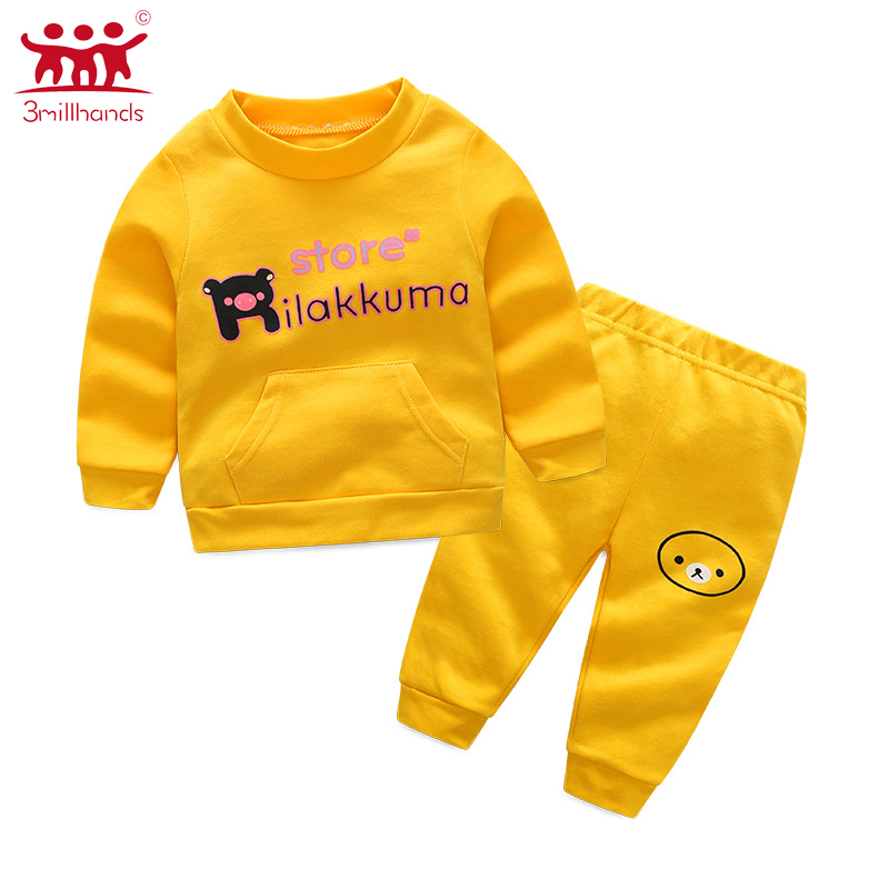 new born cute bear long sleeves baby colthes 2pcs sets o-neck autumn spring cotton 0-1 y ...