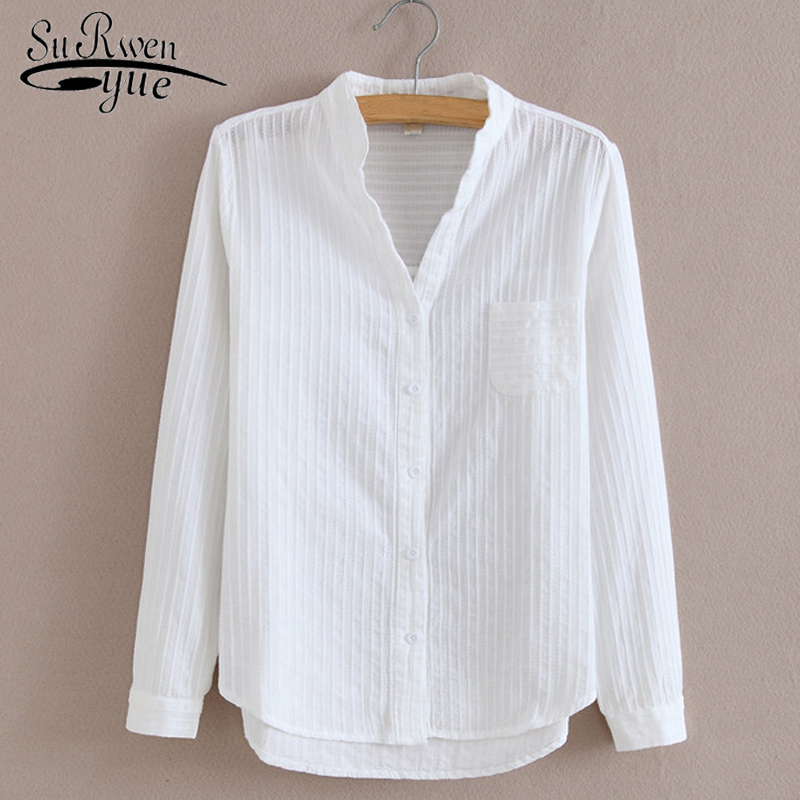 Fashion Cotton   blouse     Shirt   High Quality Women   Blouse   Long Sleeve Solid White   blouse   women   Shirts   Casual Ladies Tops 1715 50