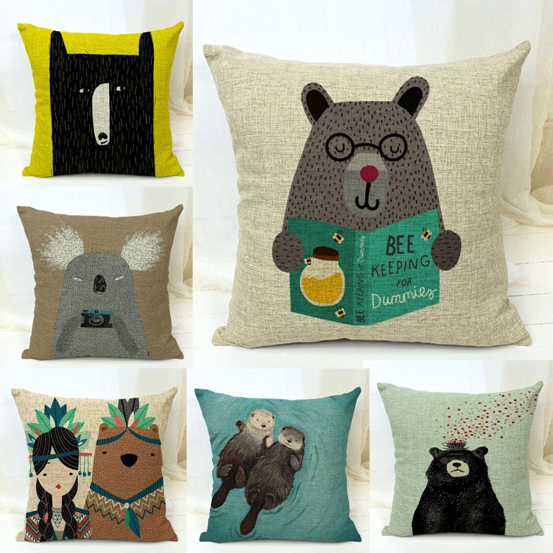Ornate Animal Pillow Cover Giveaway : Decorative Throw Pillows Case Cute Animals Bear Otter Cotton Linen Cushion Cover For Sofa Home ...