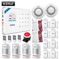 KERUI WI-FI GSM охранная система сигнализации pir детектор движения дверная сигнализация детектор дыма