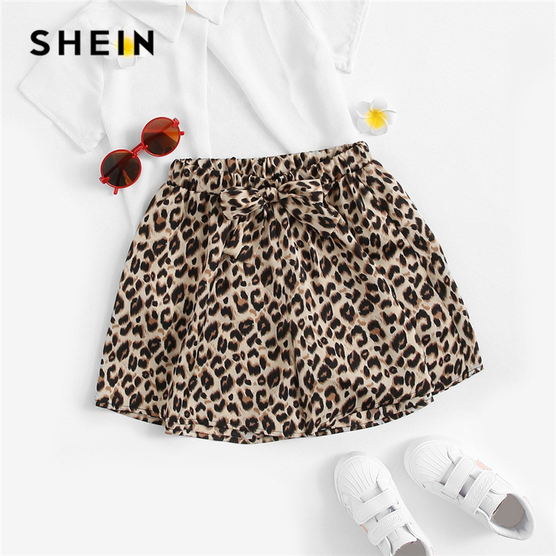 SHEIN Kiddie Bow Front Leopard Print Wide Leg Elastic Waist Shorts For Girls 2019 Summer Streetwear Style Girl Kids Short Pants frill trim bow tie front pants