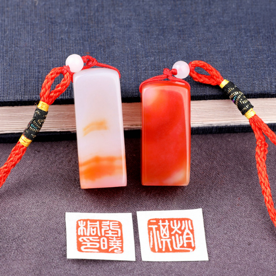 Red Color Painting Stamp Seal Stone Handmade Carving Stone Sculpture Seal Stone For School Art Supplies