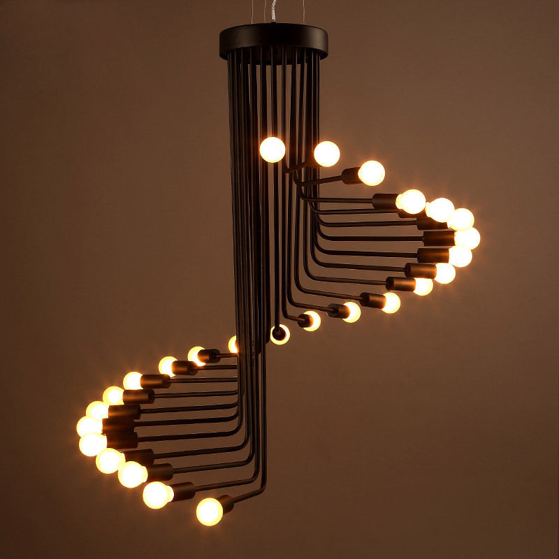 Rustic Loft Spiral Staircase Exposed Bulbs Ceiling Hanging Pendant Lights Decor AC110V/220V E27