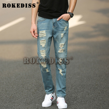 Jeans Men 2016 fashion brand luxury quality Men casual denim jeans trousers Straight blue pop slim Vintage ripped jeans C025